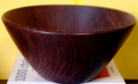 "Cocobolo bowl signed ""Paul"""